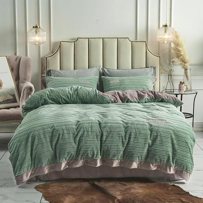 2019新款-暖绒绒工艺款四件套 床笠款1.8m(6英尺)床 暖绒绒  豆绿