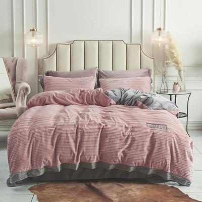 2019新款-暖绒绒工艺款四件套 床笠款1.8m(6英尺)床 暖绒绒  粉玉