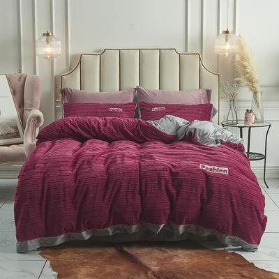 2019新款-暖绒绒工艺款四件套 床笠款1.8m(6英尺)床 暖绒绒  酒红
