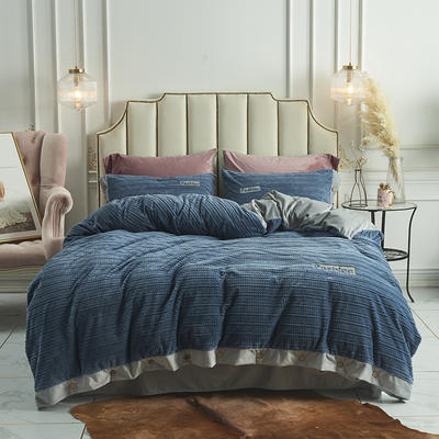2019新款-暖绒绒工艺款四件套 床笠款1.8m(6英尺)床 暖绒绒  蓝