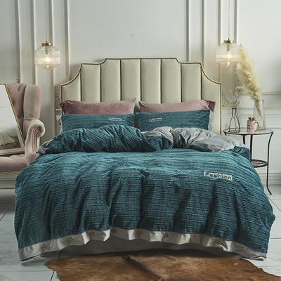 2019新款-暖绒绒工艺款四件套 床笠款1.8m(6英尺)床 暖绒绒  绿
