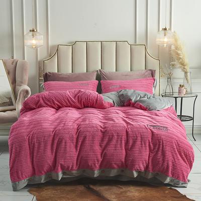 2019新款-暖绒绒工艺款四件套 床笠款1.8m(6英尺)床 暖绒绒  玫红