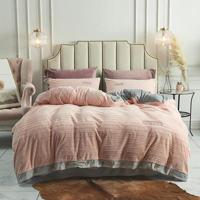 2019新款-暖绒绒工艺款四件套 床笠款1.8m(6英尺)床 暖绒绒  浅粉