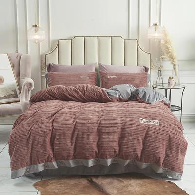 2019新款-暖绒绒工艺款四件套 床笠款1.8m(6英尺)床 暖绒绒  浅咖