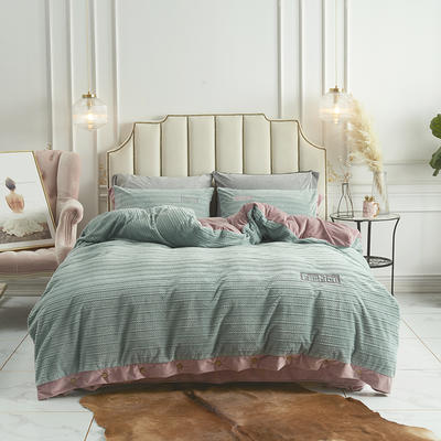 2019新款-暖绒绒工艺款四件套 床笠款1.8m(6英尺)床 暖绒绒  浅绿