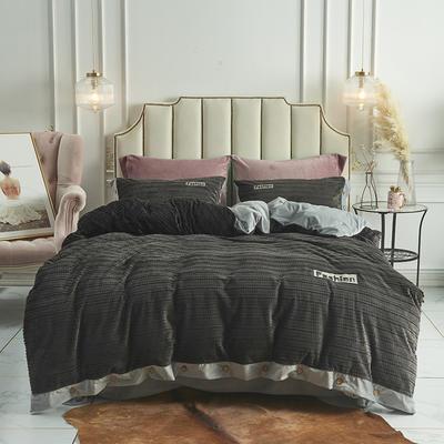 2019新款-暖绒绒工艺款四件套 床笠款1.8m(6英尺)床 暖绒绒  深灰