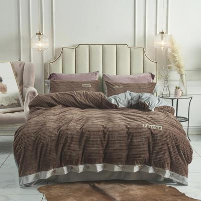 2019新款-暖绒绒工艺款四件套 床笠款1.8m(6英尺)床 暖绒绒  深咖