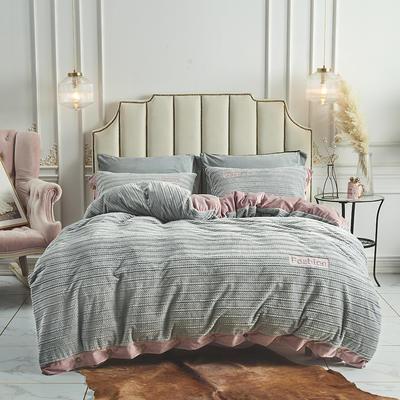 2019新款-暖绒绒工艺款四件套 床笠款1.8m(6英尺)床 暖绒绒  银灰