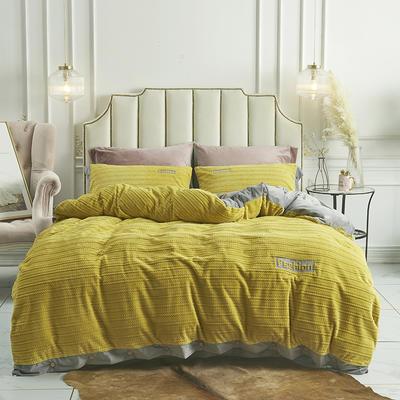 2019新款-暖绒绒工艺款四件套 床笠款1.8m(6英尺)床 暖绒绒 姜黄