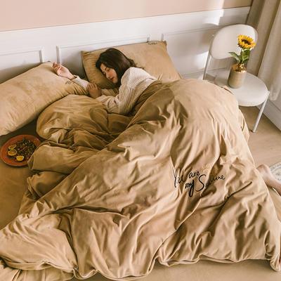 2019新款-婴儿绒绣花款四件套 床单款1.5m(5英尺)床 奥丁金