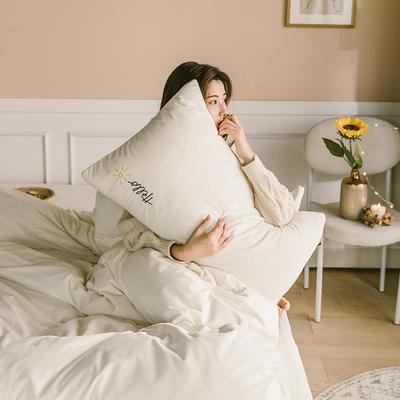 2019新款-婴儿绒绣花款四件套 床单款1.5m(5英尺)床 奶白
