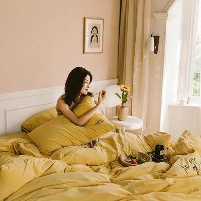 2019新款-婴儿绒绣花款四件套 床单款1.5m(5英尺)床 柠黄