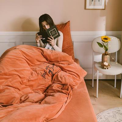 2019新款-婴儿绒绣花款四件套 床单款1.5m(5英尺)床 晚霞