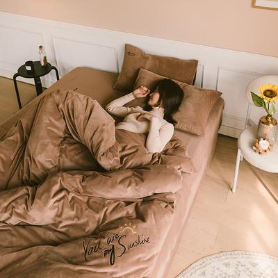 2019新款-婴儿绒绣花款四件套 床单款1.5m(5英尺)床 星巴咖