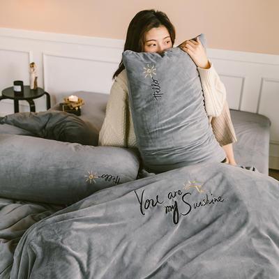 2019新款-婴儿绒绣花款四件套 床单款1.5m(5英尺)床 星际灰