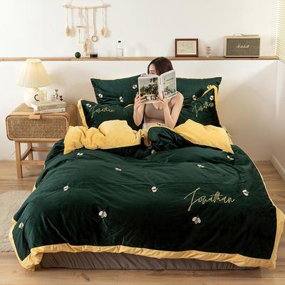 2019新款-双面丽丝绒工艺款四件套 床单款2.0m(6.6英尺)床 大牌小蜜蜂 墨绿