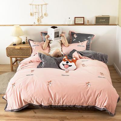 2019新款-双面丽丝绒工艺款四件套 床单款2.0m(6.6英尺)床 逗比汪 粉灰
