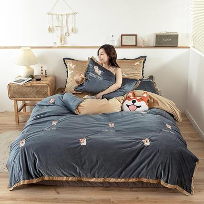 2019新款-双面丽丝绒工艺款四件套 床单款2.0m(6.6英尺)床 逗比汪 蓝青咖