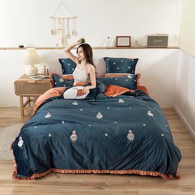 2019新款-双面丽丝绒工艺款四件套 床单款2.0m(6.6英尺)床 圣诞开心鸭