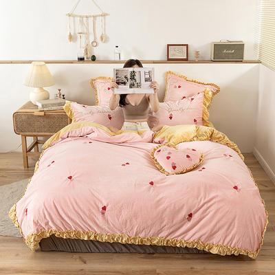 2019新款-双面丽丝绒工艺款四件套 床单款2.0m(6.6英尺)床 心心相印 粉黄