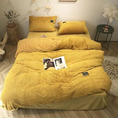 2019新款-魔法绒实拍图 床单款1.5m(5英尺)床 佛系黄