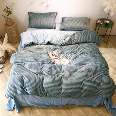 2019新款-魔法绒实拍图 床单款1.5m(5英尺)床 灰绿