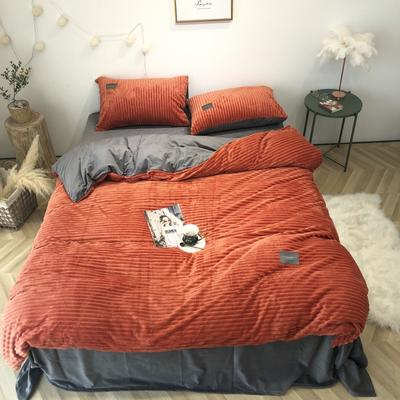 2019新款-魔法绒实拍图 床单款1.5m(5英尺)床 橘红灰