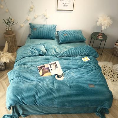 2019新款-魔法绒实拍图 床单款1.5m(5英尺)床 蓝绿