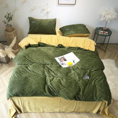 2019新款-魔法绒实拍图 床单款1.5m(5英尺)床 抹茶绿姜黄