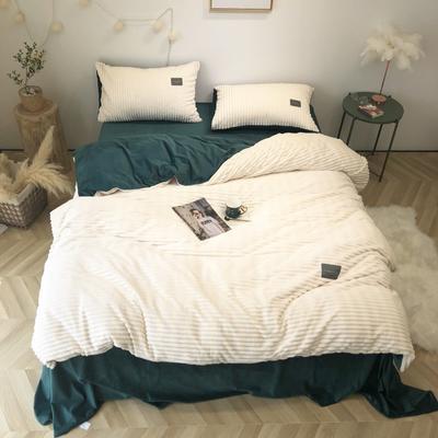 2019新款-魔法绒实拍图 床单款2.0m(6.6英尺)床 奶白气质墨绿