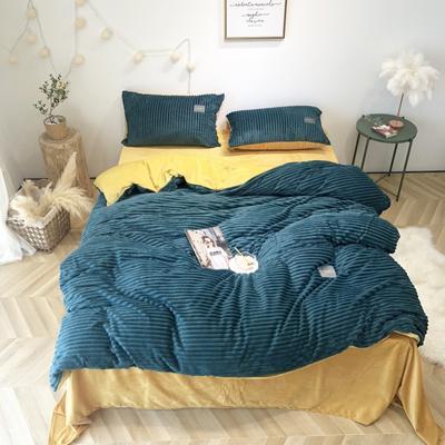 2019新款-魔法绒实拍图 床单款1.5m(5英尺)床 气质墨绿姜黄