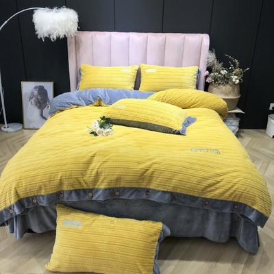2019新款-暖绒绒实拍 床单款1.8m(6英尺)床 暖绒绒姜黄