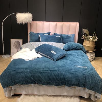 2019新款-暖绒绒实拍 床单款1.8m(6英尺)床 暖绒绒蓝绿