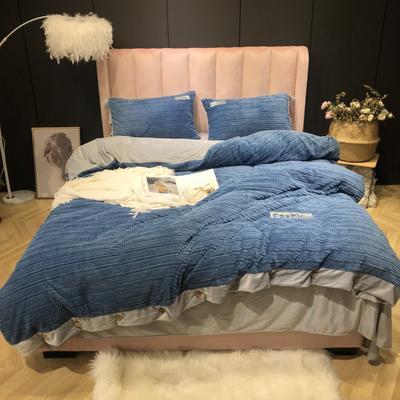 2019新款-暖绒绒实拍 床单款1.8m(6英尺)床 暖绒绒蓝色
