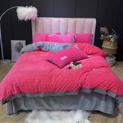 2019新款-暖绒绒实拍 床单款1.8m(6英尺)床 暖绒绒玫红
