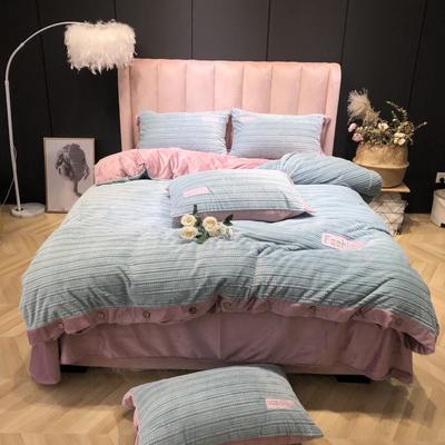 2019新款-暖绒绒实拍 床单款1.8m(6英尺)床 暖绒绒浅蓝