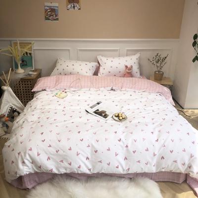 2019新款-网红小清新秋冬全棉四件套实拍 床单款三件套1.2m(4英尺)床 比心