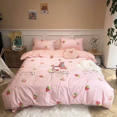 2019新款-网红小清新秋冬全棉四件套实拍 床单款三件套1.2m(4英尺)床 草莓粉