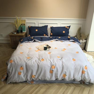 2019新款-网红小清新秋冬全棉四件套实拍 床单款三件套1.2m(4英尺)床 橙子