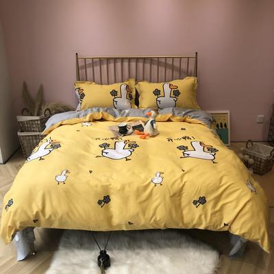 2019新款-网红小清新秋冬全棉四件套实拍 床单款三件套1.2m(4英尺)床 开心鸭黄