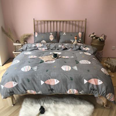 2019新款-网红小清新秋冬全棉四件套实拍 床单款三件套1.2m(4英尺)床 快乐的小鱼