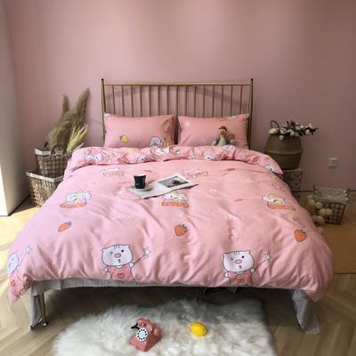 2019新款-网红小清新秋冬全棉四件套实拍 床单款三件套1.2m(4英尺)床 快乐小猪