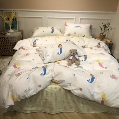 2019新款-网红小清新秋冬全棉四件套实拍 床单款三件套1.2m(4英尺)床 美人鱼