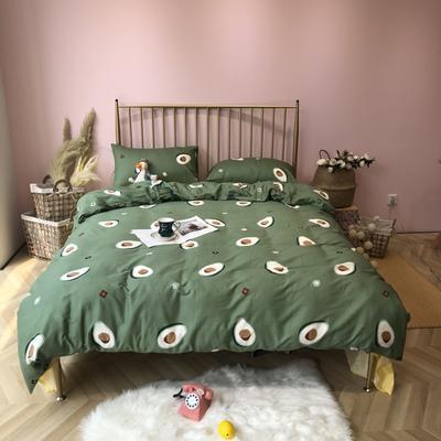 2019新款-网红小清新秋冬全棉四件套实拍 床单款三件套1.2m(4英尺)床 网红牛油果