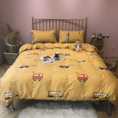 2019新款-网红小清新秋冬全棉四件套实拍 床单款三件套1.2m(4英尺)床 小黄车