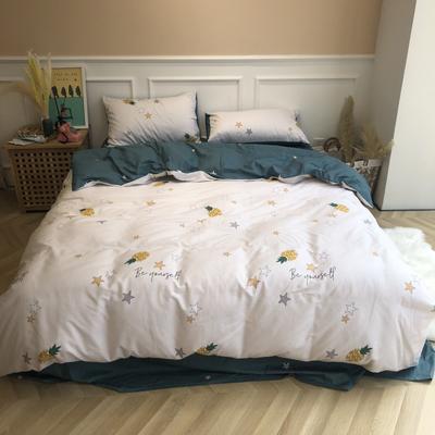 2019新款-网红小清新秋冬全棉四件套实拍 床单款三件套1.2m(4英尺)床 星光菠萝