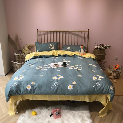 2019新款-网红小清新秋冬全棉四件套实拍 床单款三件套1.2m(4英尺)床 一往情深