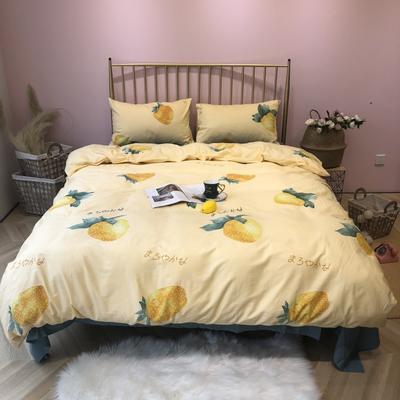 2019新款-网红小清新秋冬全棉四件套实拍 床单款三件套1.2m(4英尺)床 因为爱情