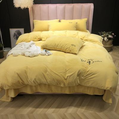 2019新款-婴儿绒实拍图 床单款2.0m(6.6英尺)床 柠黄