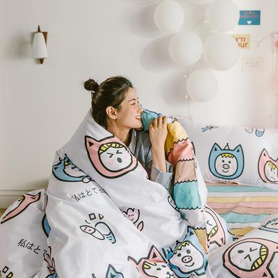 2020新款-日系呆萌卡通系列四件套电子图 床单款三件套1.2m(4英尺)床 A彩虹-福猫